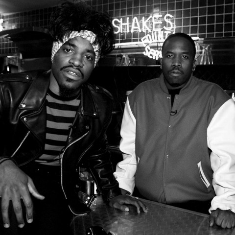 Big Boi and Andre of OutKast on the set of their video shoot for a song which will be featured in the movie Scooby-Doo. 4/28/02. Los Angeles, CA photo by Kevin Winter/ImageDirect***Exclusive****
